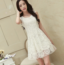 2018 NEWEST KOREAN LACE SLIM CHIFFON SUMMER DRESS FOR LARGE SIZE