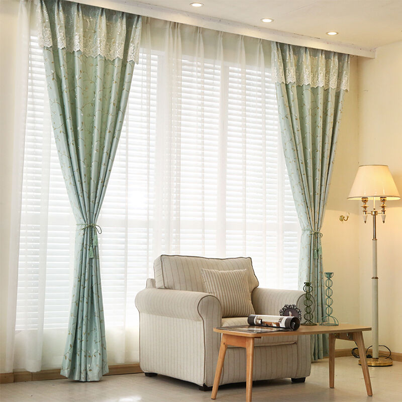 high quality sun shade fabric lace stitching window curtain