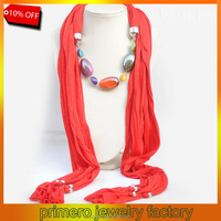 PRIMERO curtain australia style Solid Color and Multicolor Polyester Winter warmth 3 Color Beads Women Pendant Scarf Necklace