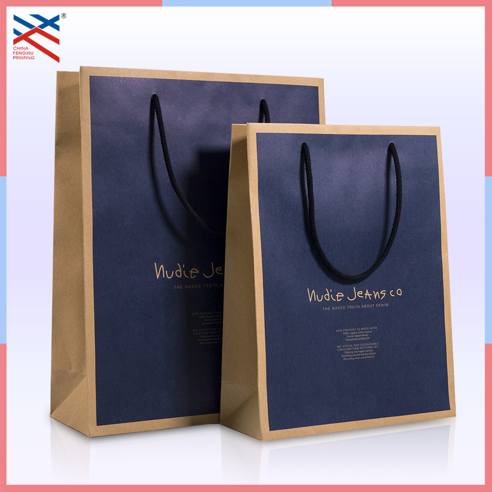 China Manufacturer Wholesale Luxury Handmade Custom Color Print Cheap Garment Shopping Recycle Brown Kraft Paper Bag with Handle