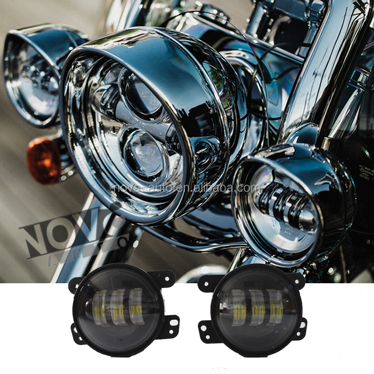 Automobiles & Motorcycles Round High Low Beam 4 inch Fog Light For Harley With LED Angel Eye