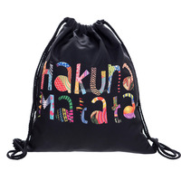 new style customized polyester full color printing drawstring bag