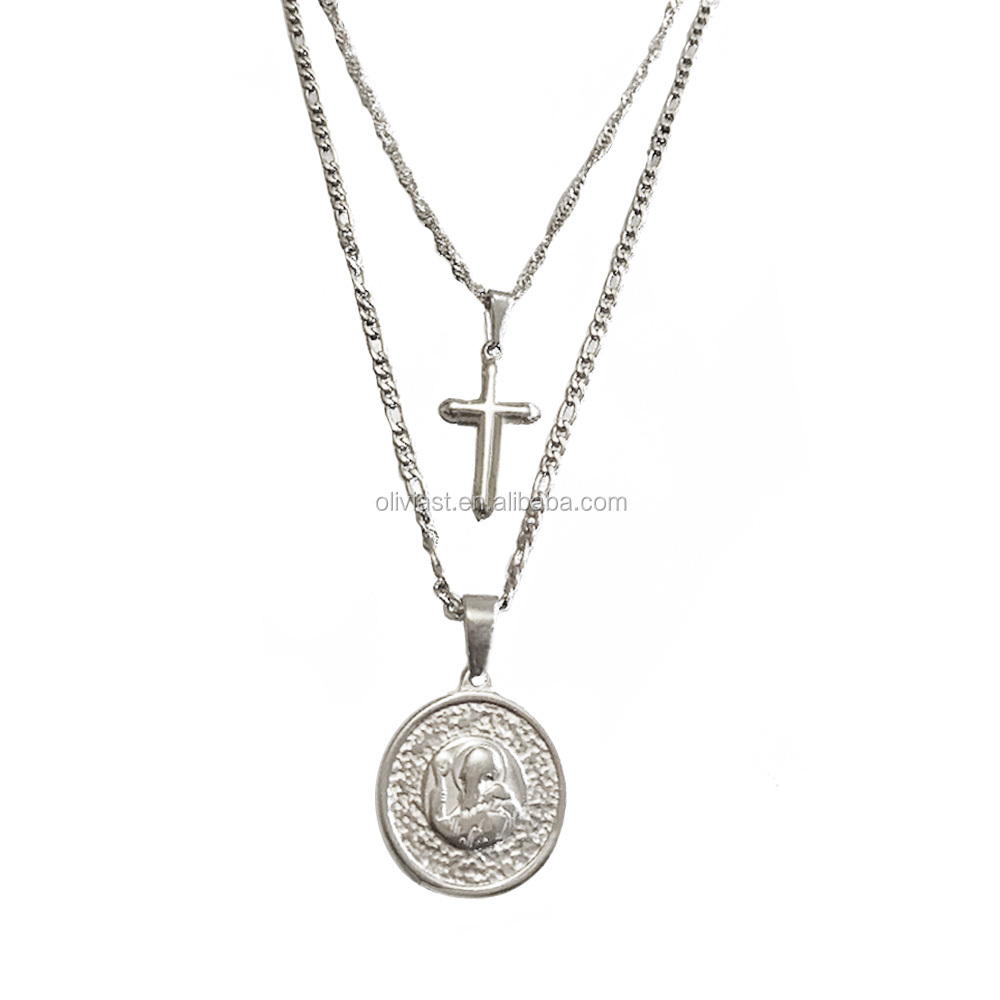 Olivia custom 미니 멀 jewelry accessories women coin virgin mary 종교 layered 18 k 금 necklace
