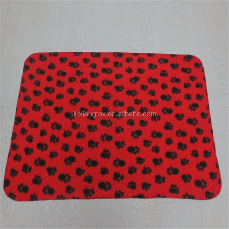 Promotional Printed Polar Fleece dog blanket with paws printed