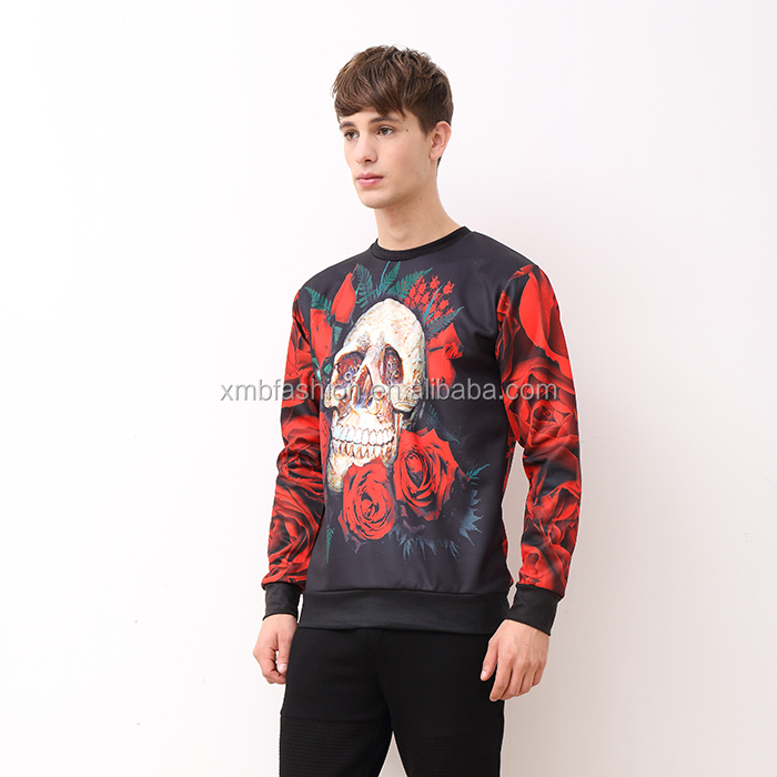 Autumn new design multi color printing cotton sweatshirt men