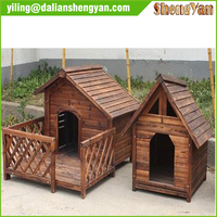 Wooden dog kennel with good sunshine