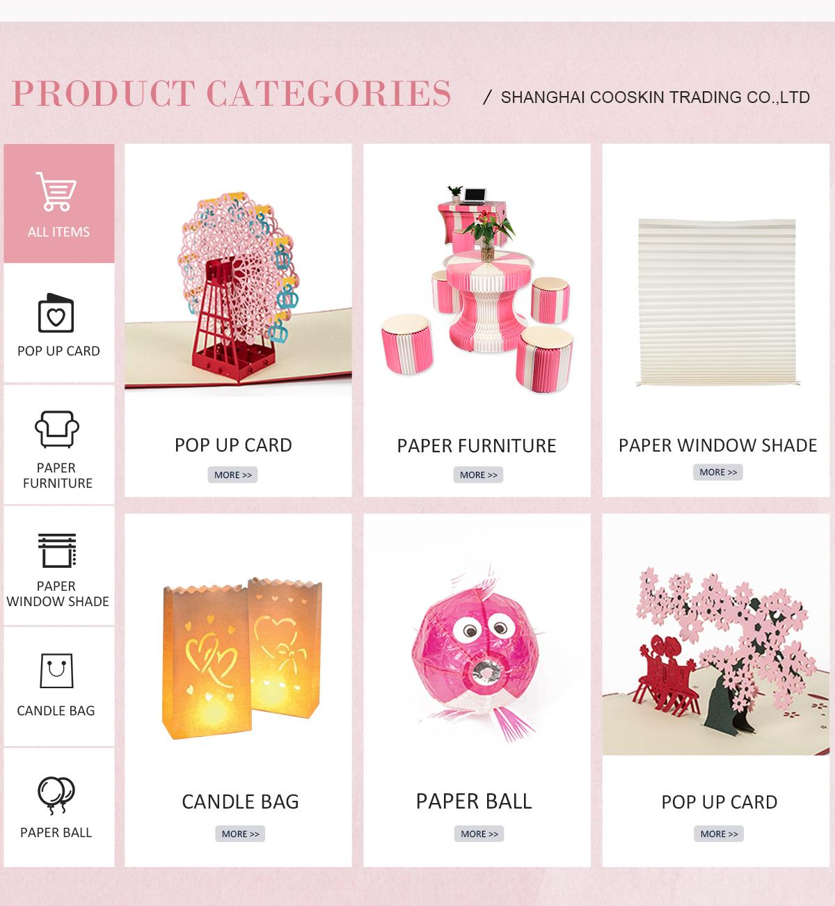 Shanghai Cooskin Trading Co Ltd Pop Up Cards Laser Cards