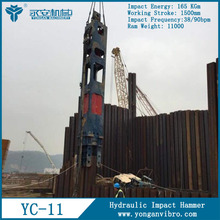 CE Approved Sheet Pile Equipment YC-11 Hydraulic Impact Hammer for Concrete
