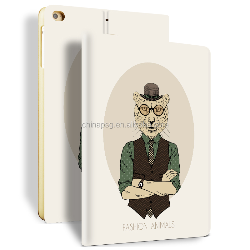 Newest Color Printing Pu Leather Smart Case for Ipad Mini, Folio Stand Cover Case for Ipad Mini123 (Mr. Leopard)