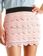 high waisted Tiered Lace Crochet Mini Skirt For Ladies