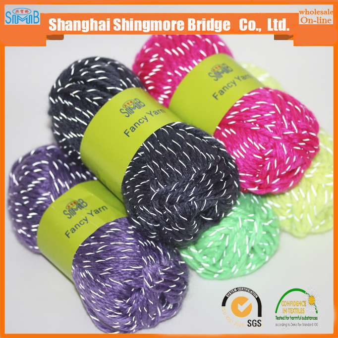 china yarn supplier cheap wholesale high quality acrylic polyester blended reflective knitting yarn for hand knitting
