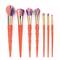 2017 new products makeup brush 7 piece orange color personalised brushes makeup brush set