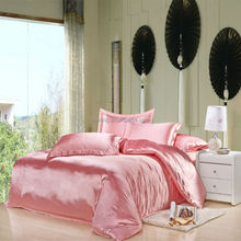 Good Touch Lovely Pink Satin Luxurious Bed Sheet Silk Bedding Set
