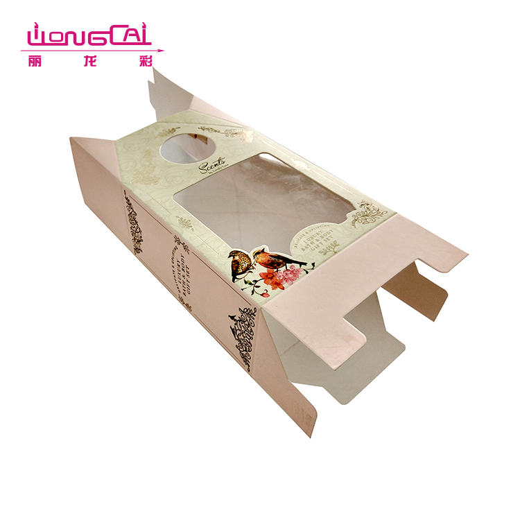 Promotional custom printed luxury folding paper gift box with clear pvc window