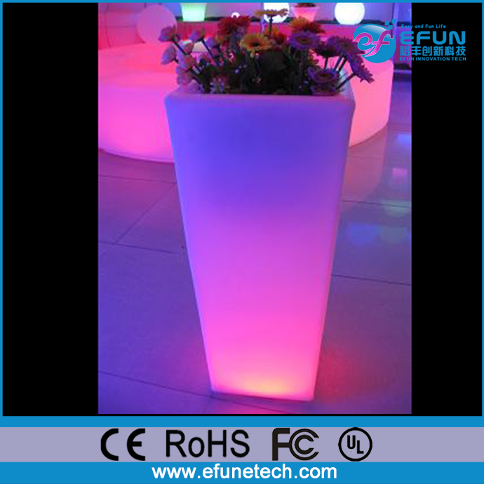 remote control rgb color changing solar powered decorative plastic tall illuminated led flower pots