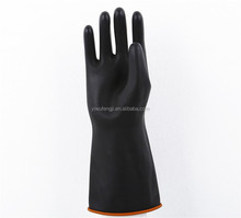 14'Smooth long sleeve latex industrial glove with double color/Black light weight latex industry gloves,with orange lined