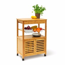 kitchen furniture trolley cart cabinet bamboo wooden kitchen storage trolley with wheels