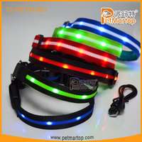 TZ-PET6100U High quality USB Rechageable Soft Dog Collar LED Pet Dog Collar