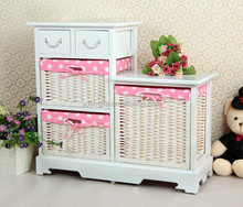 White Wood Wicker Drawer Basket Unit Cupboard Cabinet Prefab Drawers