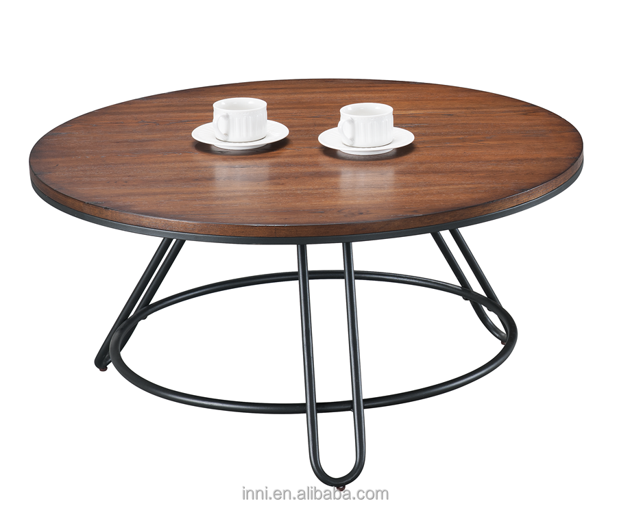 ROUND METAL AND WOOD SWIVEL COFFEE TABLE , END TABLE