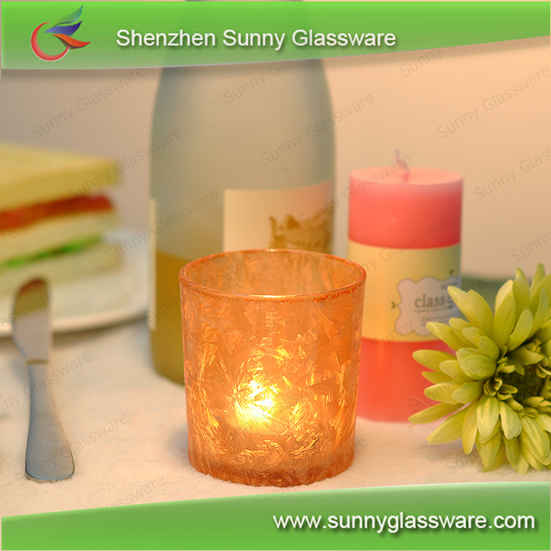 color spray glass candle holders cloudy effect