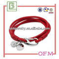 fashion red leather bracelet and bangle with logo ,promotion gift,lovely leather bracelet