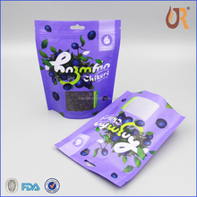 private logo custom printing plastic stand up pouch with window for trail mix
