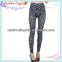 New Fashion Lady Full Length Little Floral Print Skinny Pants