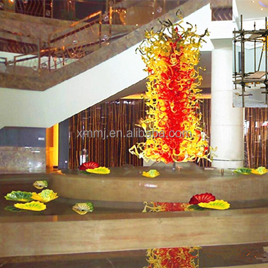 Large hotel indoor project decorative tall hand blown art glass floor sculptures