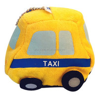 Wholesale yellow cheap small taxi girls plush toy car