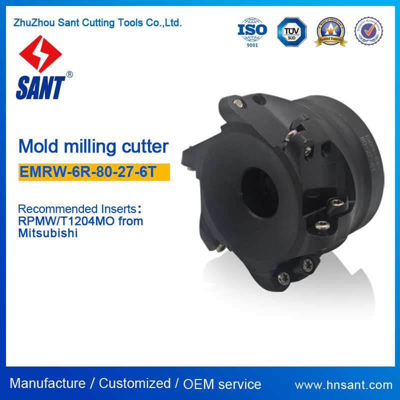 Round dowel face mill CNC Lathe Indexable Milling Cutter EMRW-6R-80-27-6T Recommended Insert RPMW1204MO