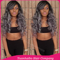"Hot Sale Quality 7A! 10""-32"" #1b/gray loose wave malaysian remy hair silver grey two tone ombre full lace wigs"