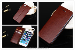 Hot wallet leather case bag for iphone 6s with card slots, wholesale China