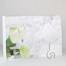 High quality wholesale yellow rose wine glass design paper bag for Russian party
