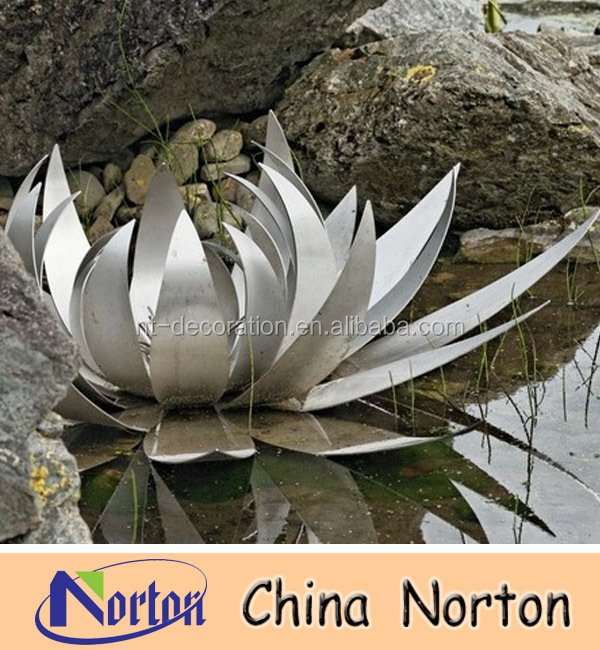 304materials latus flower stainless steel water lily sculpture NTS-206