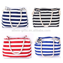 Custom fashion stripe large tote beach canvas bag with rope handle