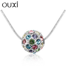 OUXI korean style multicolored crystal ball necklace 10988-1
