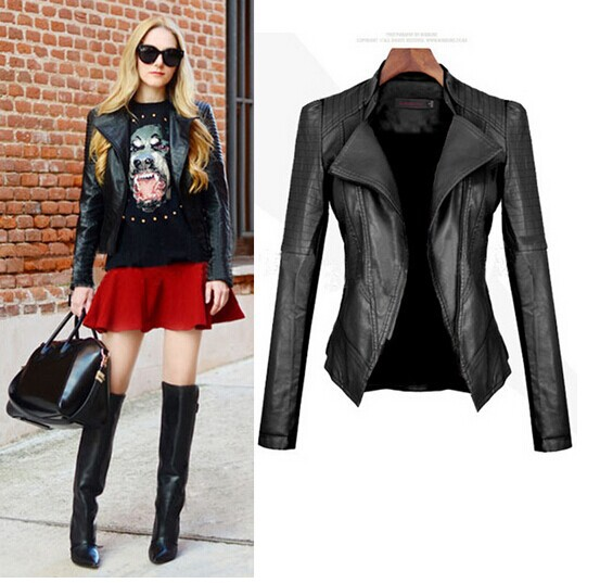 C88222A women pu leather jacket coat