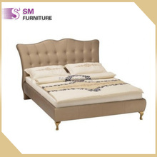 Modern luxury leather bed king size genuine double bed for wholesale