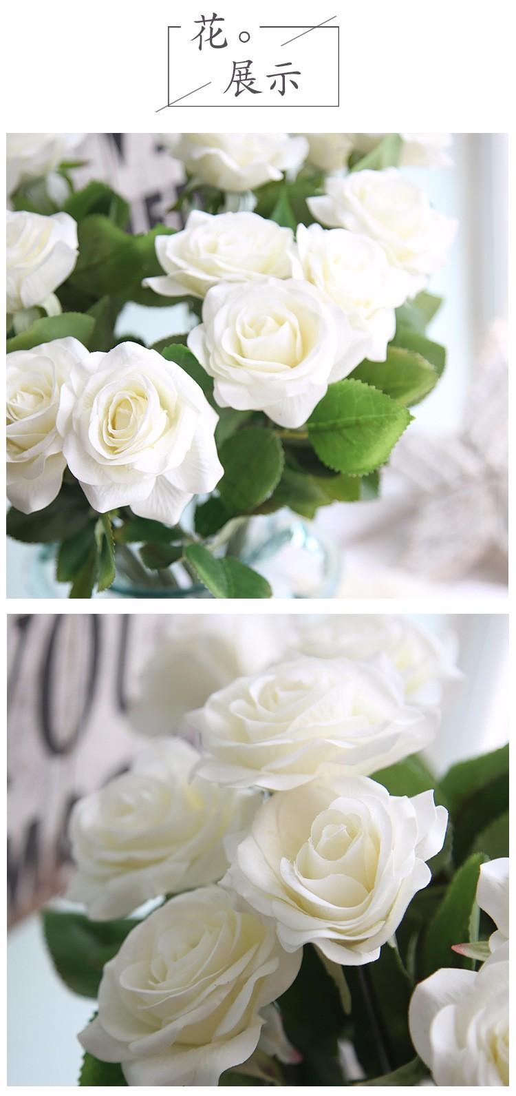 White Artificial Rose Plastic Rose Bouquet For Wedding Decoration