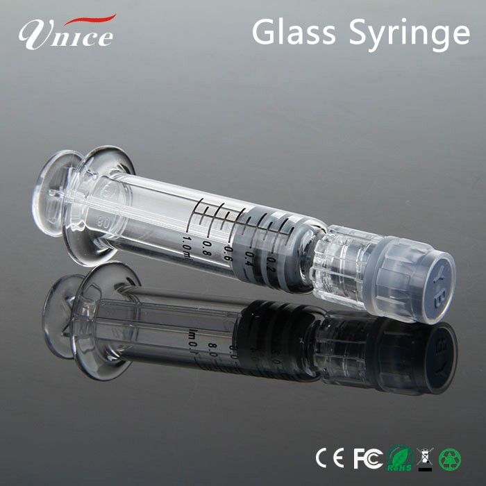 disposable glass syringe 1ml for CBD Oil Ceramic cartridge cbd oil extract 510 Double Coil Atomizer cbd oil cartridge gold metal