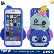2016 hot sale design style soft silicon 3d cartoon phone case for apple iphone 5
