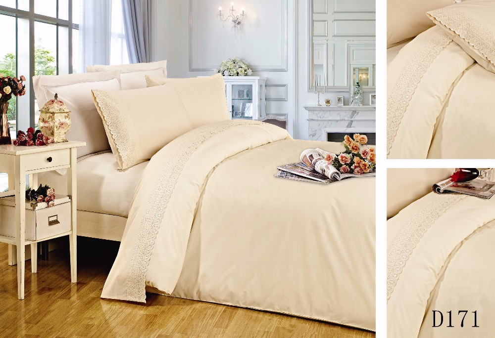 Lace solid color 50 polyester 50 cotton bedding set made in india