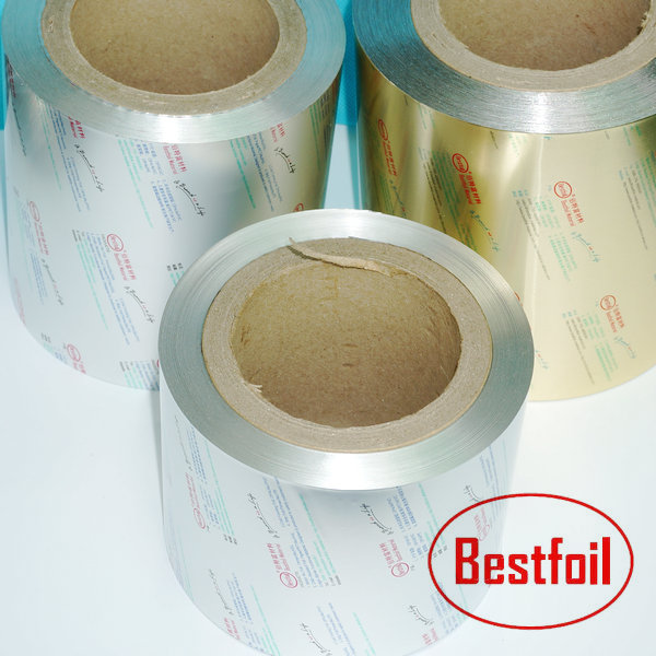 Good blister foil price for OP/Alu23/VC blister aluminum lidding foil with 4-6gsm HSL coating