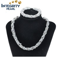 fashion 9mm potato freshwter pearl crystal beads women jewerly necklace bracelet set