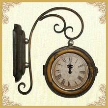 Decorative double sides wooden wall clock