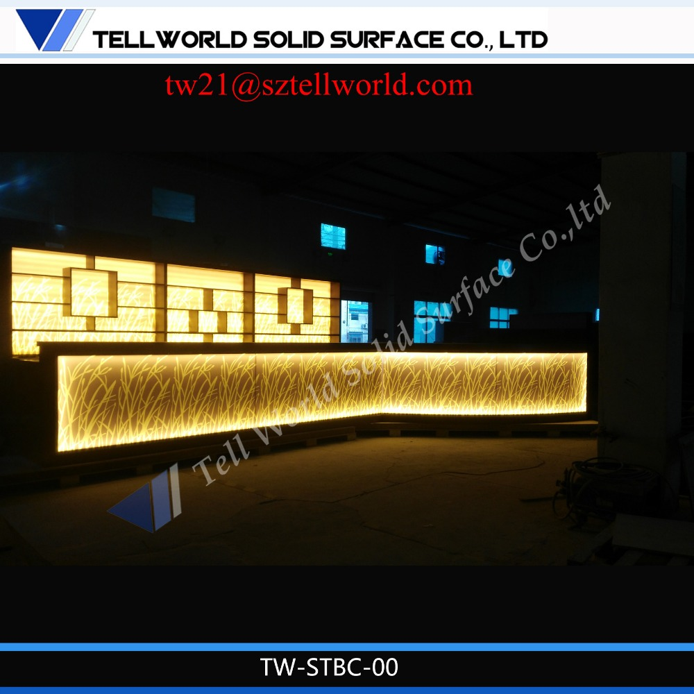 Tell Word U Shaped Cafe Cashier Counter LED Lighted Cafe Cashier Counter Table