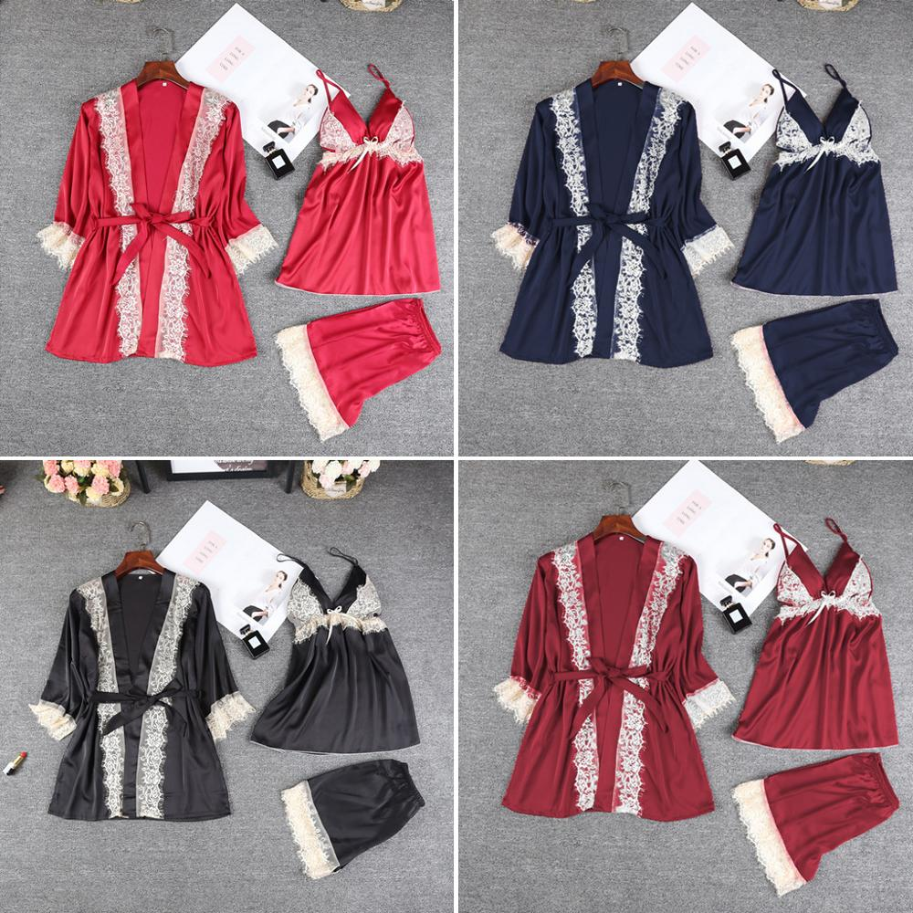 2019 Silk Lace Casual Robe Split Suit Home Suit Pyjamas Women Sleepwear Set