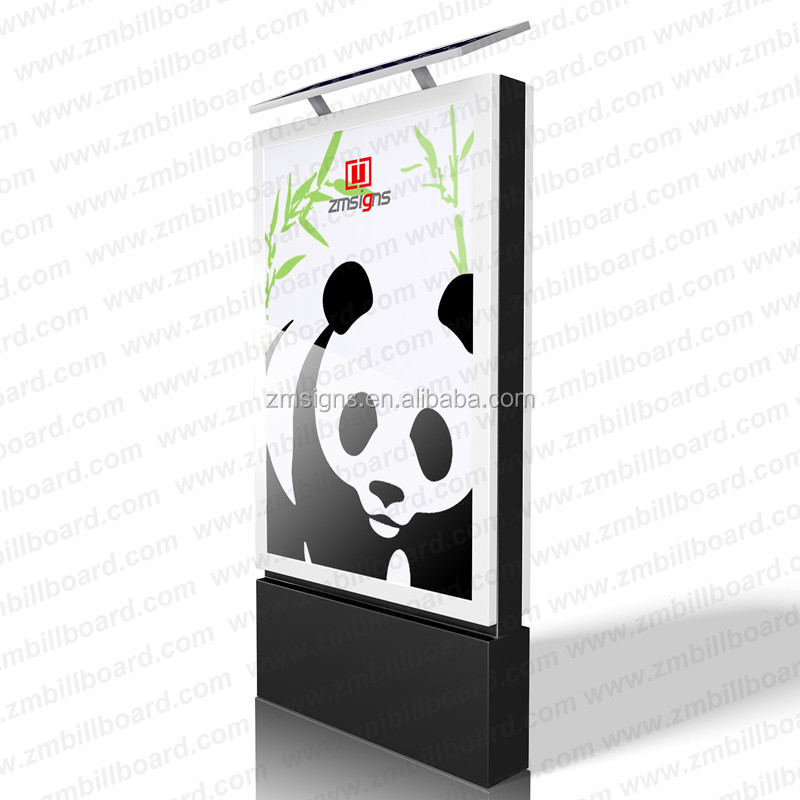 ZM-103 Outdoor solar powered LED lamp post advertising light box