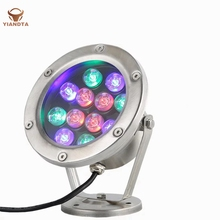12W Stainless Steel Fountain Lamp Embedded Colorful LED Outdoor Waterproof Pool Light